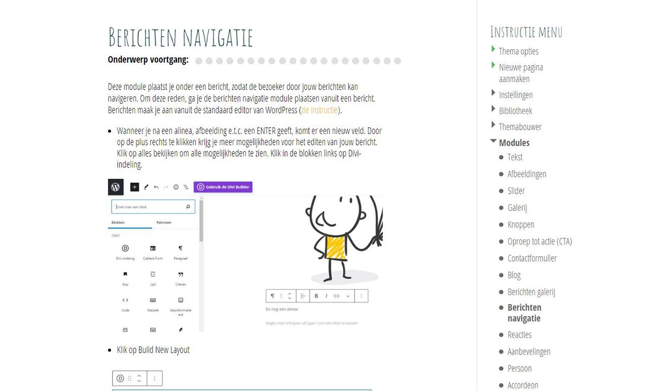 Online instructies -Divi Berichten navigatie