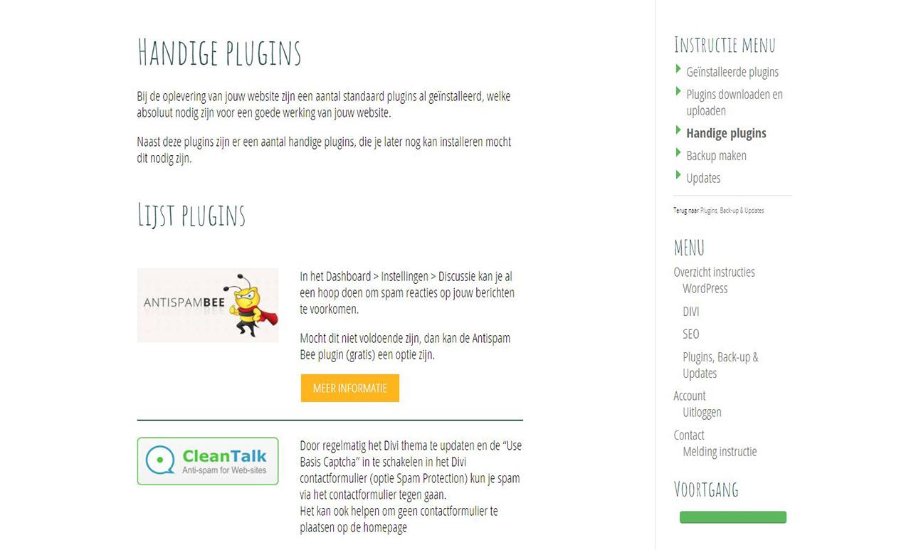 Online instructies - Handige plugins